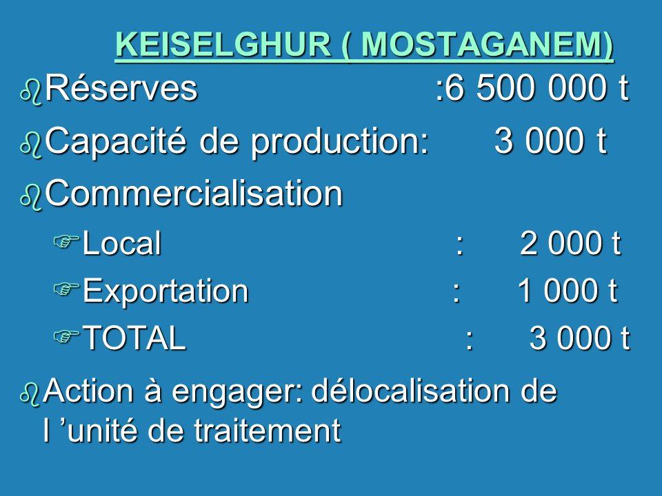 KEISELGHUR ( MOSTAGANEM) b Réserves :6 500 000 t b Capacité de production: 3 000 t b Commercialisation FLocal : 2 000 t FExportation : 1 000 t FTOTAL