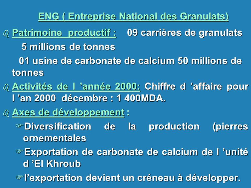 ENG ( Entreprise National des Granulats) b Patrimoine productif : 09 carrières de granulats 5 millions de tonnes 5 millions de tonnes 01 usine de carb