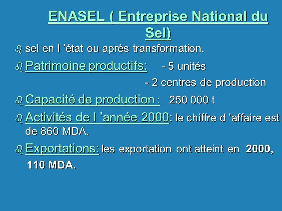 ENASEL ( Entreprise National du Sel) b sel en l état ou après transformation. b Patrimoine productifs: - 5 unités - 2 centres de production - 2 centre