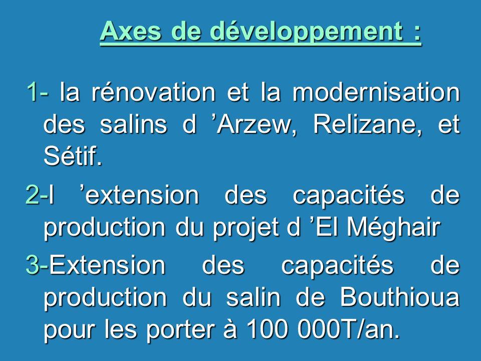 Axes de développement : 1- la rénovation et la modernisation des salins d Arzew, Relizane, et Sétif. 2-l extension des capacités de production du proj