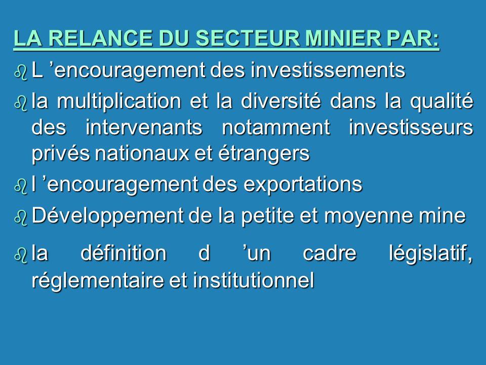 LA RELANCE DU SECTEUR MINIER PAR: b L encouragement des investissements b la multiplication et la diversité dans la qualité des intervenants notamment