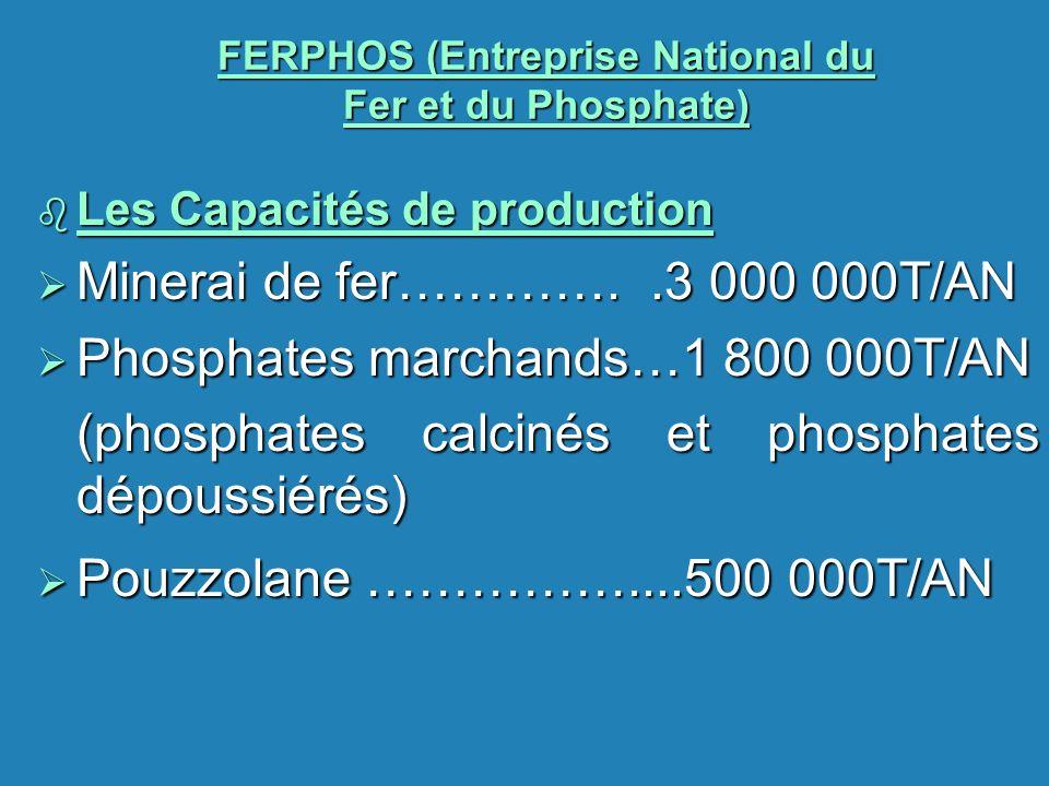 FERPHOS (Entreprise National du Fer et du Phosphate) b Les Capacités de production Minerai de fer…………..3 000 000T/AN Minerai de fer…………..3 000 000T/AN