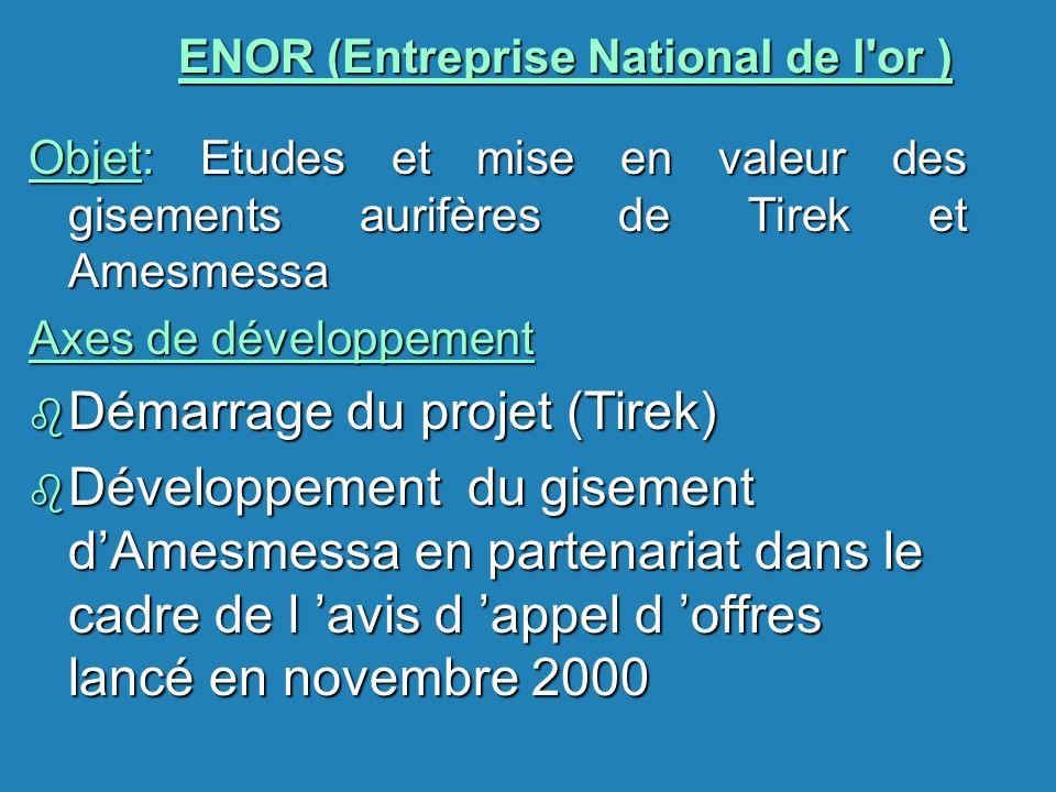 ENOR (Entreprise National de l'or ) Objet: Etudes et mise en valeur des gisements aurifères de Tirek et Amesmessa Axes de développement b Démarrage du