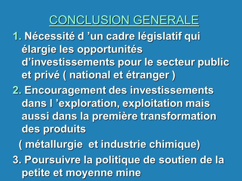 CONCLUSION GENERALE 1. Nécessité d un cadre législatif qui élargie les opportunités dinvestissements pour le secteur public et privé ( national et étr