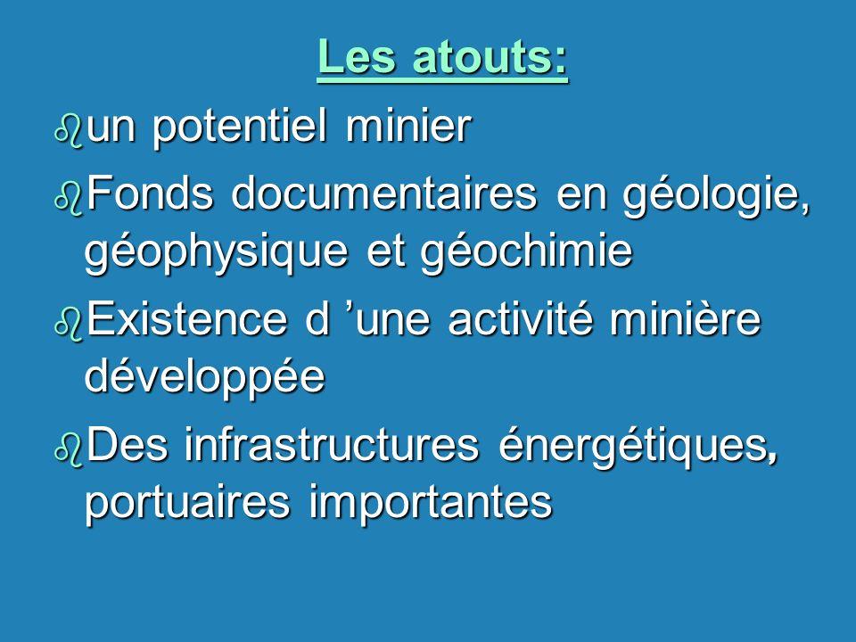 Les atouts: b un potentiel minier b Fonds documentaires en géologie, géophysique et géochimie b Existence d une activité minière développée Des infras