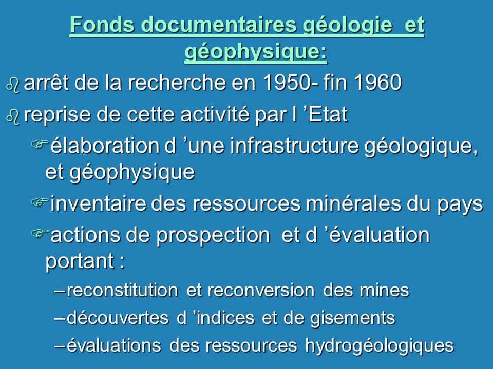 Fonds documentaires géologie et géophysique: b arrêt de la recherche en 1950- fin 1960 b reprise de cette activité par l Etat Félaboration d une infra