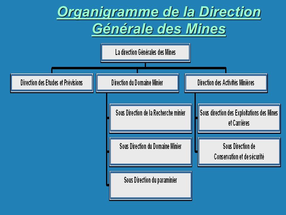 Organigramme de la Direction Générale des Mines