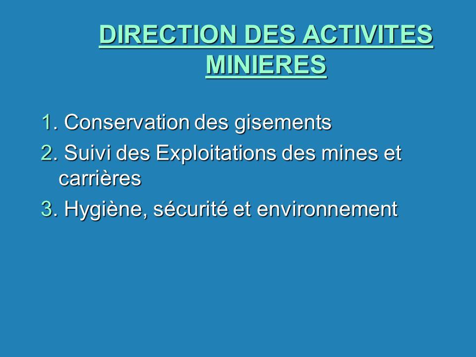 DIRECTION DES ACTIVITES MINIERES 1. Conservation des gisements 2. Suivi des Exploitations des mines et carrières 3. Hygiène, sécurité et environnement