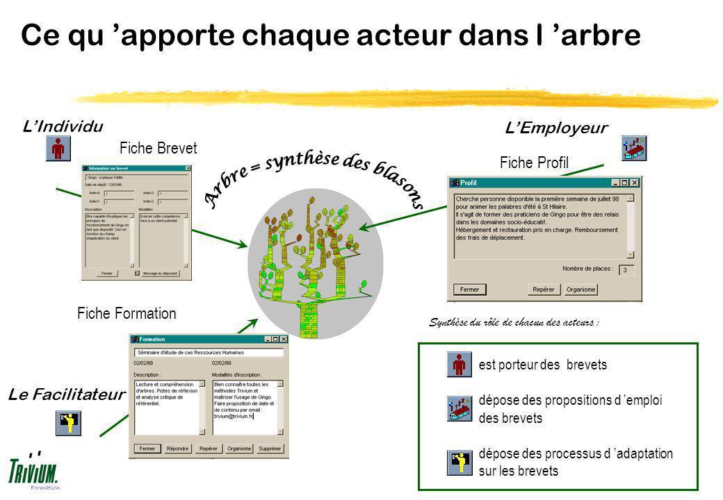Ce qu apporte chaque acteur dans l arbre Fiche Brevet Fiche Formation Fiche Profil Synthèse du rôle de chacun des acteurs : est porteur des brevets dé