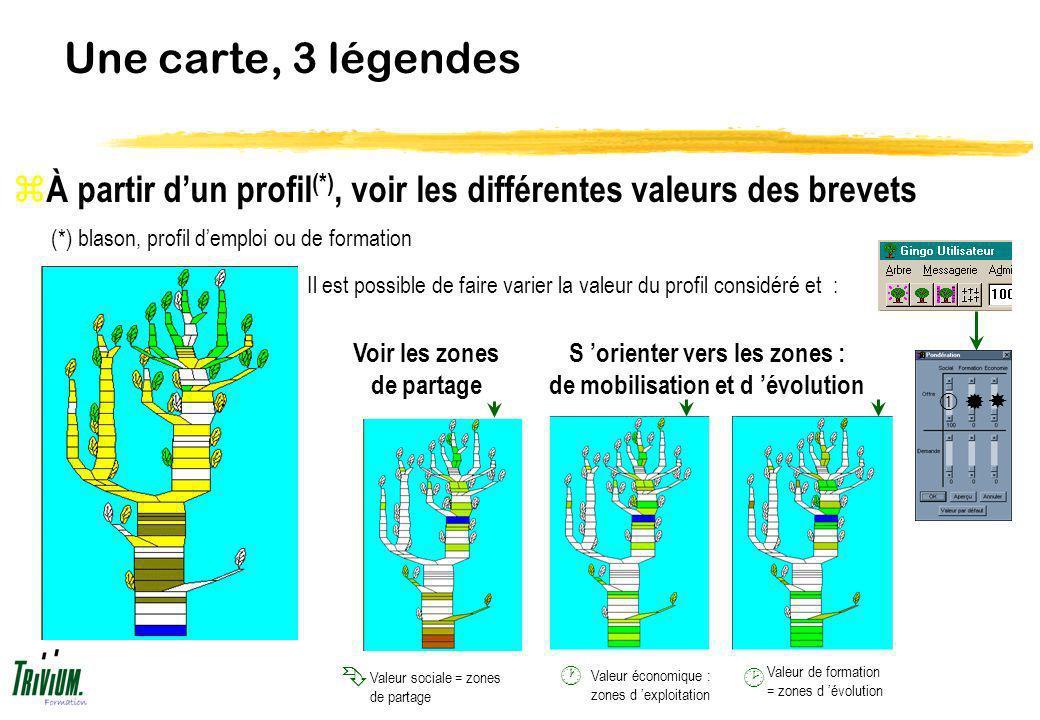 Une carte, 3 légendes Il est possible de faire varier la valeur du profil considéré et : z À partir dun profil (*), voir les différentes valeurs des b