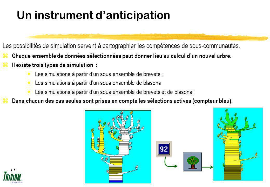 Un instrument danticipation z Chaque ensemble de données sélectionnées peut donner lieu au calcul dun nouvel arbre. z Il existe trois types de simulat