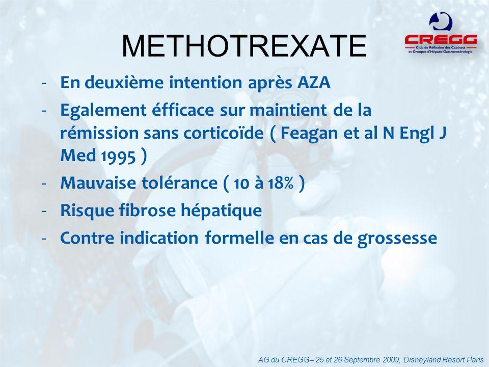-En deuxième intention après AZA -Egalement éfficace sur maintient de la rémission sans corticoïde ( Feagan et al N Engl J Med 1995 ) -Mauvaise toléra