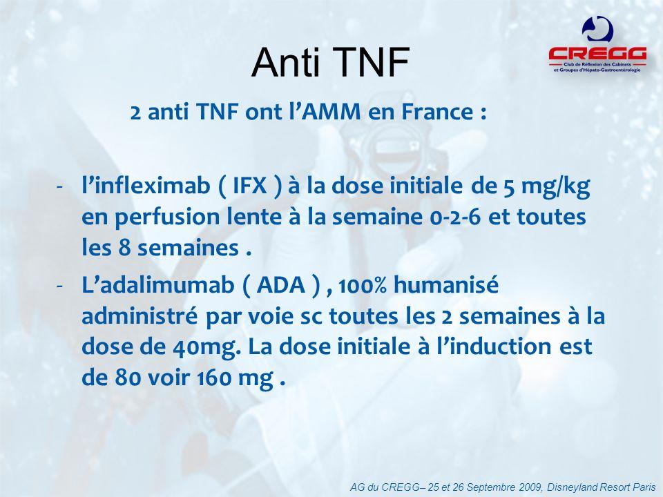 2 anti TNF ont lAMM en France : -linfleximab ( IFX ) à la dose initiale de 5 mg/kg en perfusion lente à la semaine 0-2-6 et toutes les 8 semaines. -La