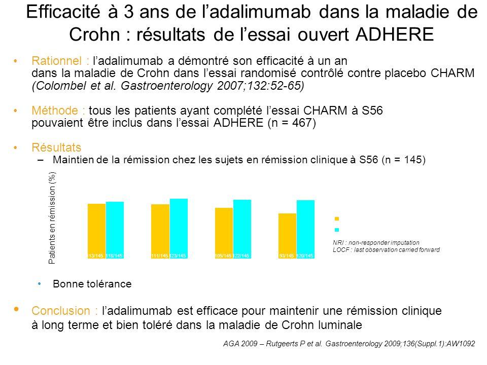 Efficacité à 3 ans de ladalimumab dans la maladie de Crohn : résultats de lessai ouvert ADHERE Rationnel : ladalimumab a démontré son efficacité à un