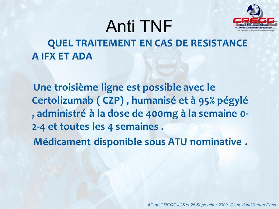 QUEL TRAITEMENT EN CAS DE RESISTANCE A IFX ET ADA Une troisième ligne est possible avec le Certolizumab ( CZP), humanisé et à 95% pégylé, administré à
