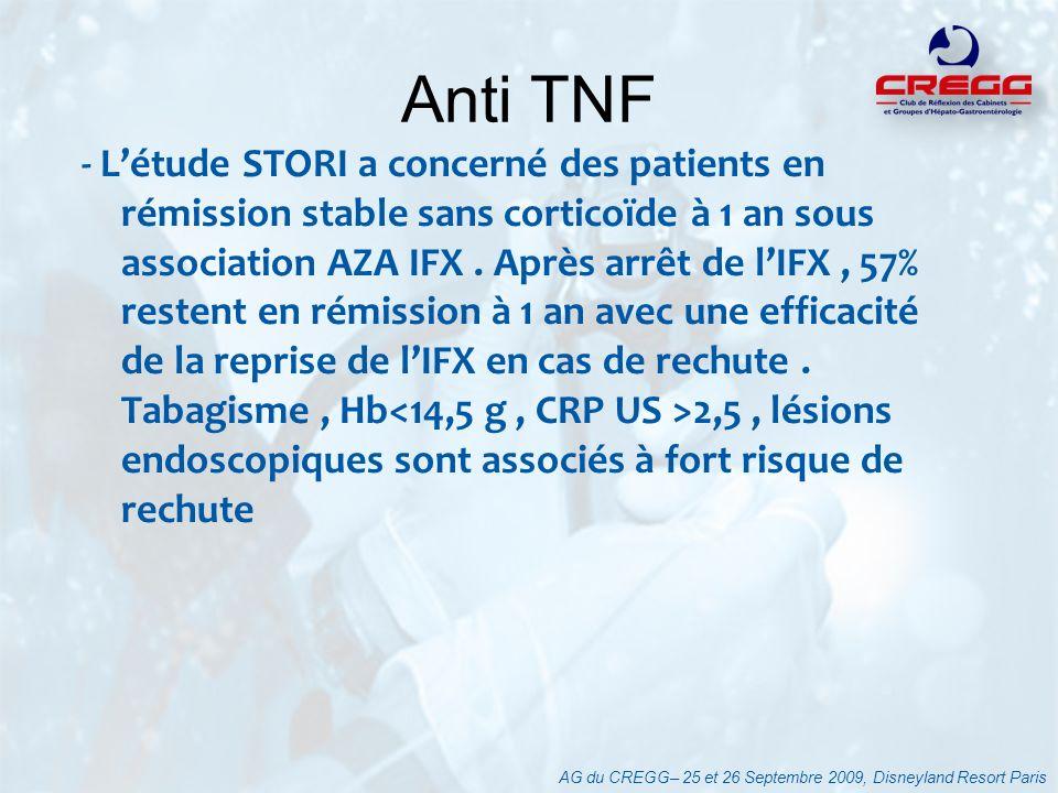 - Létude STORI a concerné des patients en rémission stable sans corticoïde à 1 an sous association AZA IFX. Après arrêt de lIFX, 57% restent en rémiss