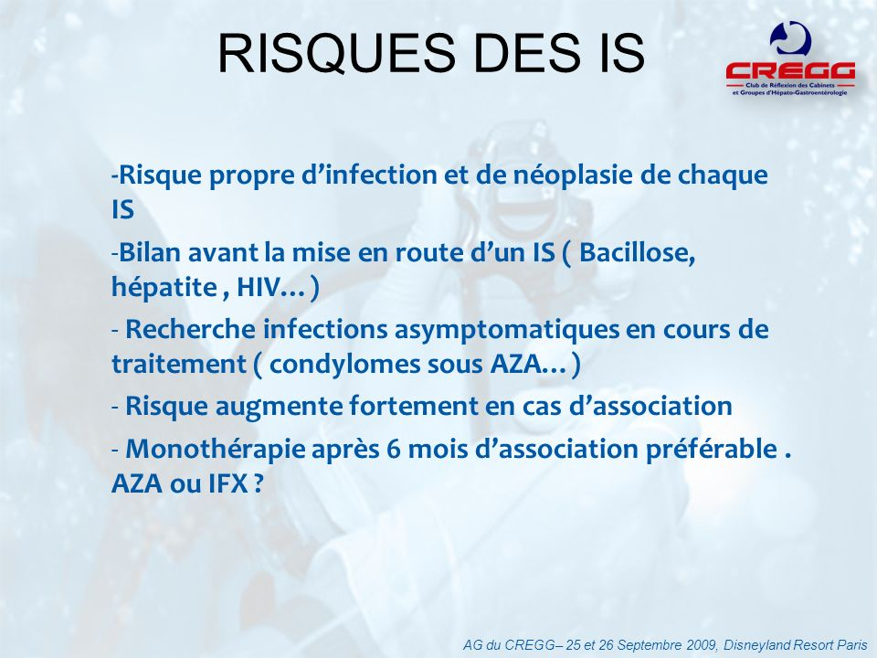 -Risque propre dinfection et de néoplasie de chaque IS -Bilan avant la mise en route dun IS ( Bacillose, hépatite, HIV…) - Recherche infections asympt