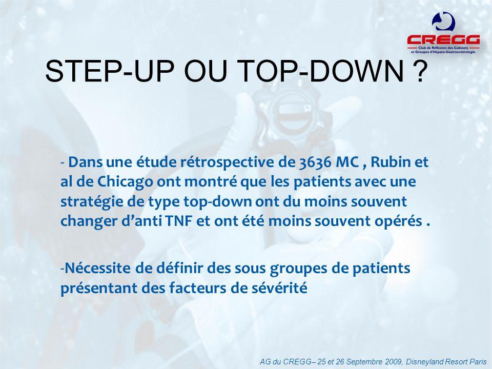 - Dans une étude rétrospective de 3636 MC, Rubin et al de Chicago ont montré que les patients avec une stratégie de type top-down ont du moins souvent