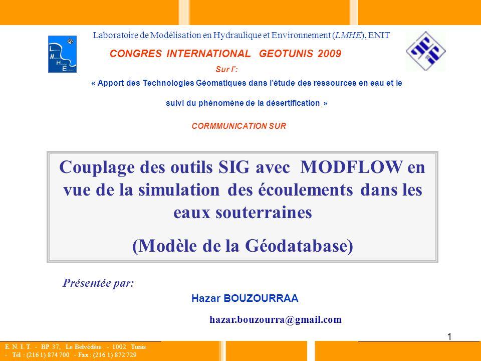 1 Couplage des outils SIG avec MODFLOW en vue de la simulation des écoulements dans les eaux souterraines (Modèle de la Géodatabase) Hazar BOUZOURRAA