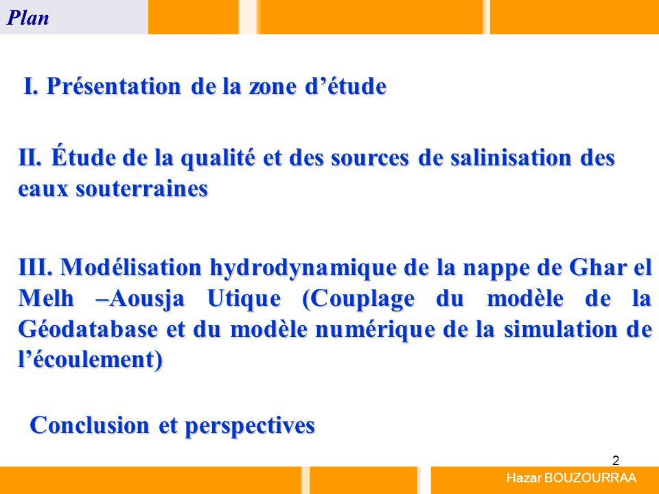2 Hazar BOUZOURRAA Plan I. Présentation de la zone détude II. Étude de la qualité et des sources de salinisation des eaux souterraines III. Modélisati