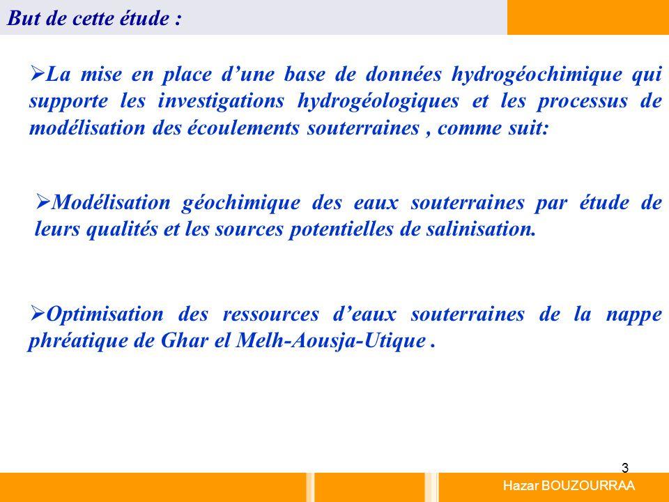 3 Hazar BOUZOURRAA But de cette étude : La mise en place dune base de données hydrogéochimique qui supporte les investigations hydrogéologiques et les