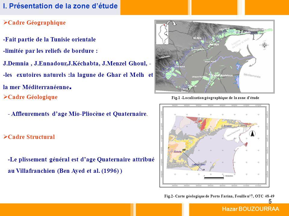 5 Cadre Géographique -Fait partie de la Tunisie orientale -limitée par les reliefs de bordure : Fig.1 -Localisation géographique de la zone d'étude Ca