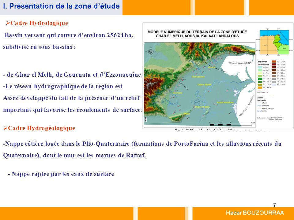 7 Cadre Hydrologique Cadre Hydrogéologique Bassin versant qui couvre denviron 25624 ha, subdivisé en sous bassins : Fig.5- Modèle numérique de terrain