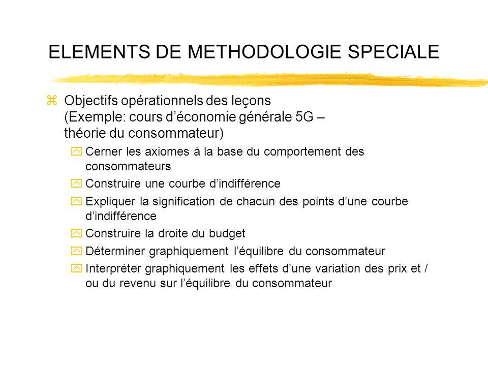 ELEMENTS DE METHODOLOGIE SPECIALE zObjectifs opérationnels des leçons (Exemple: cours déconomie générale 5G – théorie du consommateur) yCerner les axi