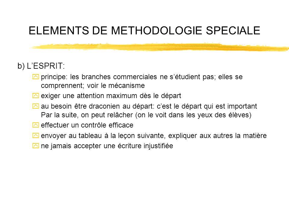 ELEMENTS DE METHODOLOGIE SPECIALE b) LESPRIT: yprincipe: les branches commerciales ne sétudient pas; elles se comprennent; voir le mécanisme yexiger u
