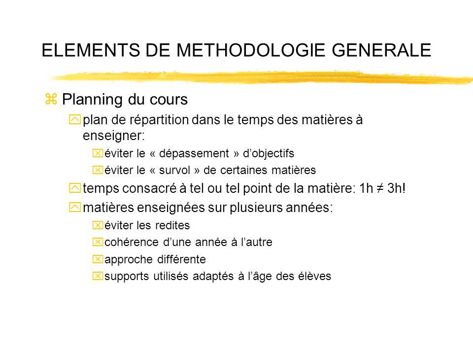 ELEMENTS DE METHODOLOGIE GENERALE zPlanning du cours yplan de répartition dans le temps des matières à enseigner: xéviter le « dépassement » dobjectif