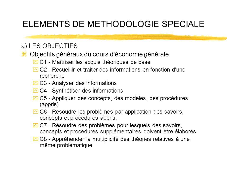 ELEMENTS DE METHODOLOGIE SPECIALE a) LES OBJECTIFS: zObjectifs généraux du cours déconomie générale yC1 - Maîtriser les acquis théoriques de base yC2