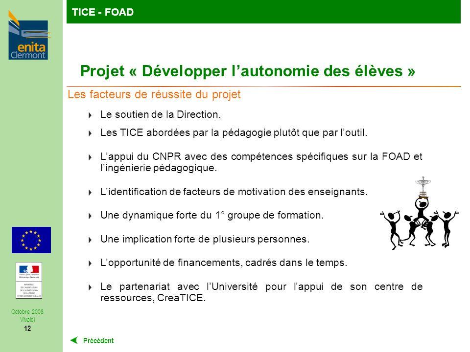 TutoFOP : la formation de formateurs à la carteTICE - FOAD Précédent Octobre 2008 Vivaldi 12 Projet « Développer lautonomie des élèves » Les facteurs de réussite du projet Le soutien de la Direction.