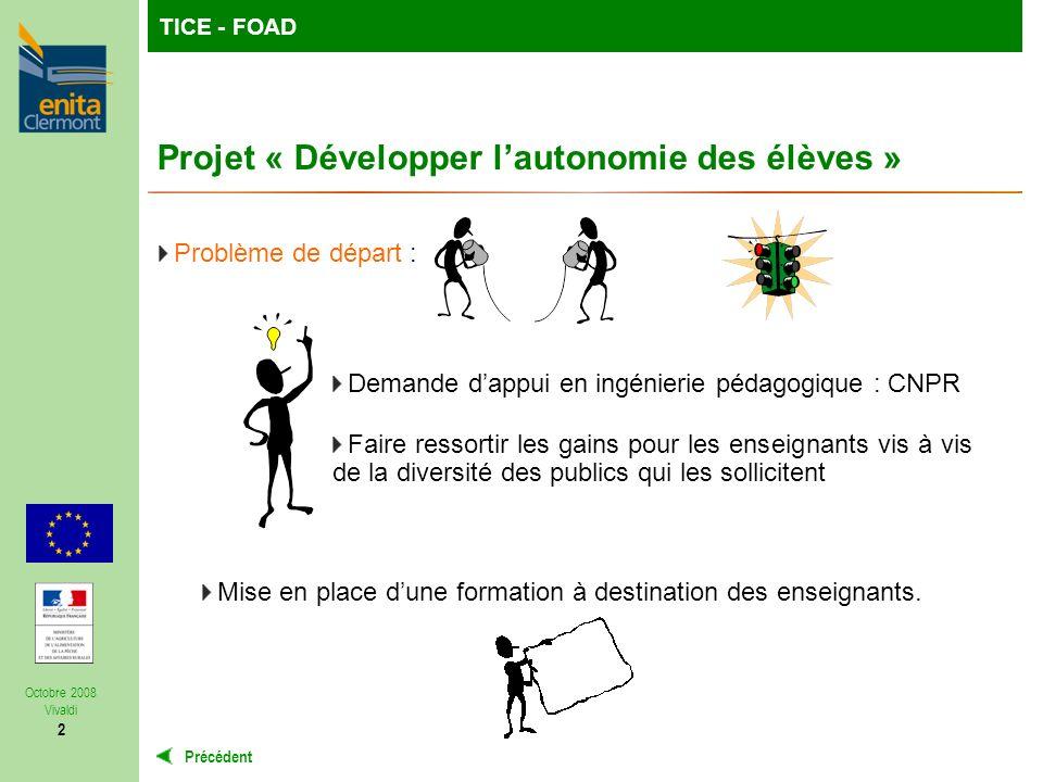 TutoFOP : la formation de formateurs à la carteTICE - FOAD Précédent Octobre 2008 Vivaldi 2 Projet « Développer lautonomie des élèves » Problème de départ : Mise en place dune formation à destination des enseignants.