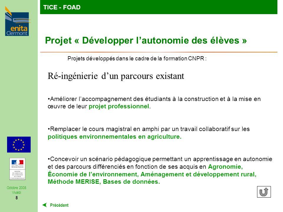 TutoFOP : la formation de formateurs à la carteTICE - FOAD Précédent Octobre 2008 Vivaldi 8 Ré-ingénierie dun parcours existant Améliorer laccompagnement des étudiants à la construction et à la mise en œuvre de leur projet professionnel.