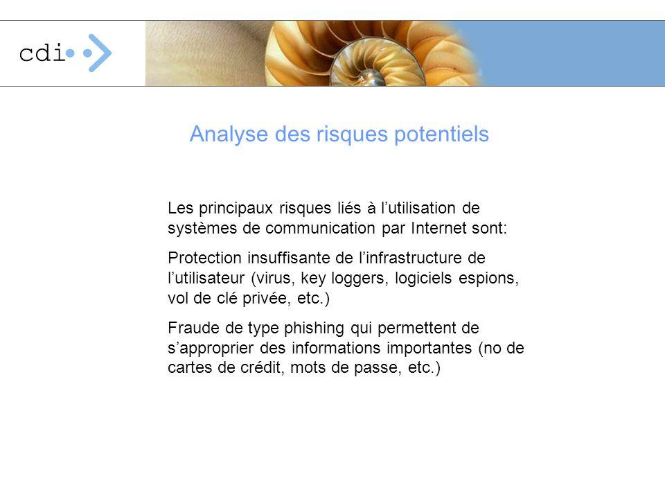 Les principaux risques li é s à l utilisation de syst è mes de communication par Internet sont: Protection insuffisante de l infrastructure de l utili