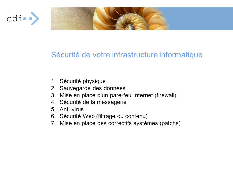 Sécurité de votre infrastructure informatique 1.S é curit é physique 2.Sauvegarde des donn é es 3.Mise en place d un pare-feu Internet (firewall) 4.S
