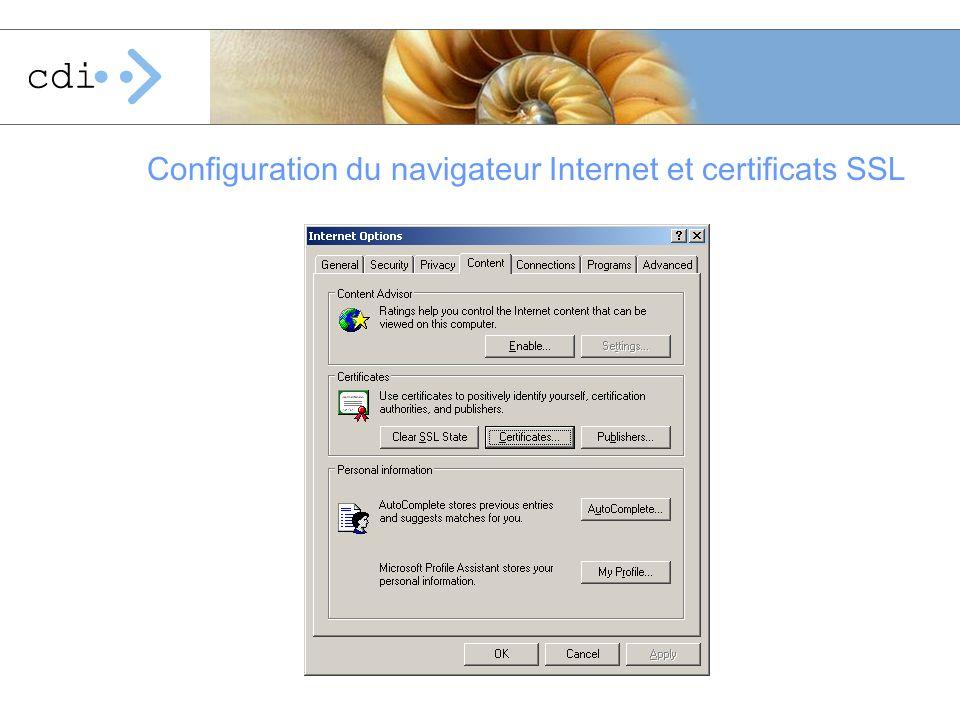 Configuration du navigateur Internet et certificats SSL