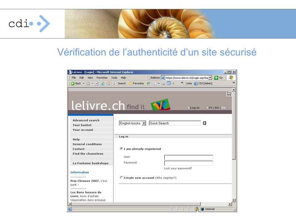 Vérification de lauthenticité dun site sécurisé