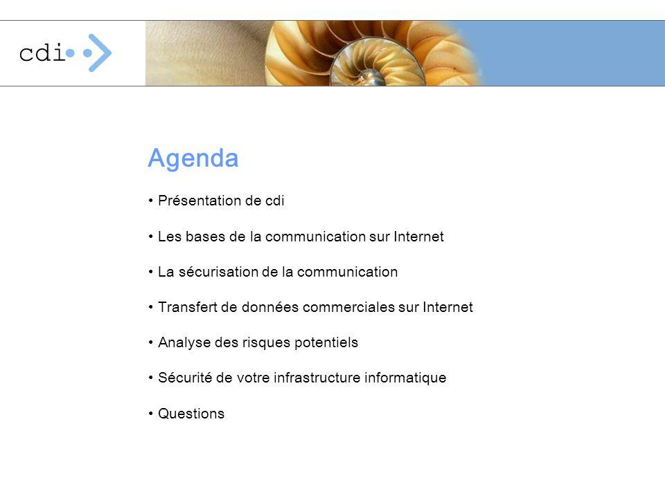 Agenda Présentation de cdi Les bases de la communication sur Internet La sécurisation de la communication Transfert de données commerciales sur Intern