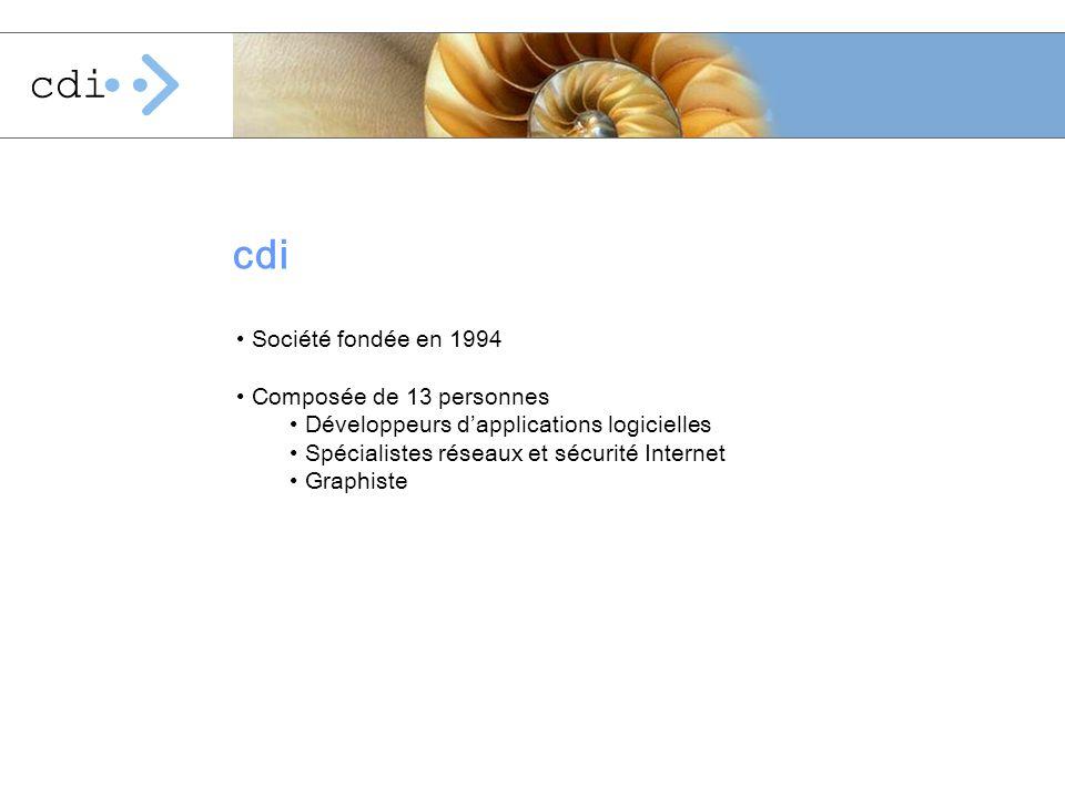 Activités Développement dapplications sur mesure Conseil en sécurité Internet et gestion dinfrastructure Plus dinformations sous www.cdi.chwww.cdi.ch