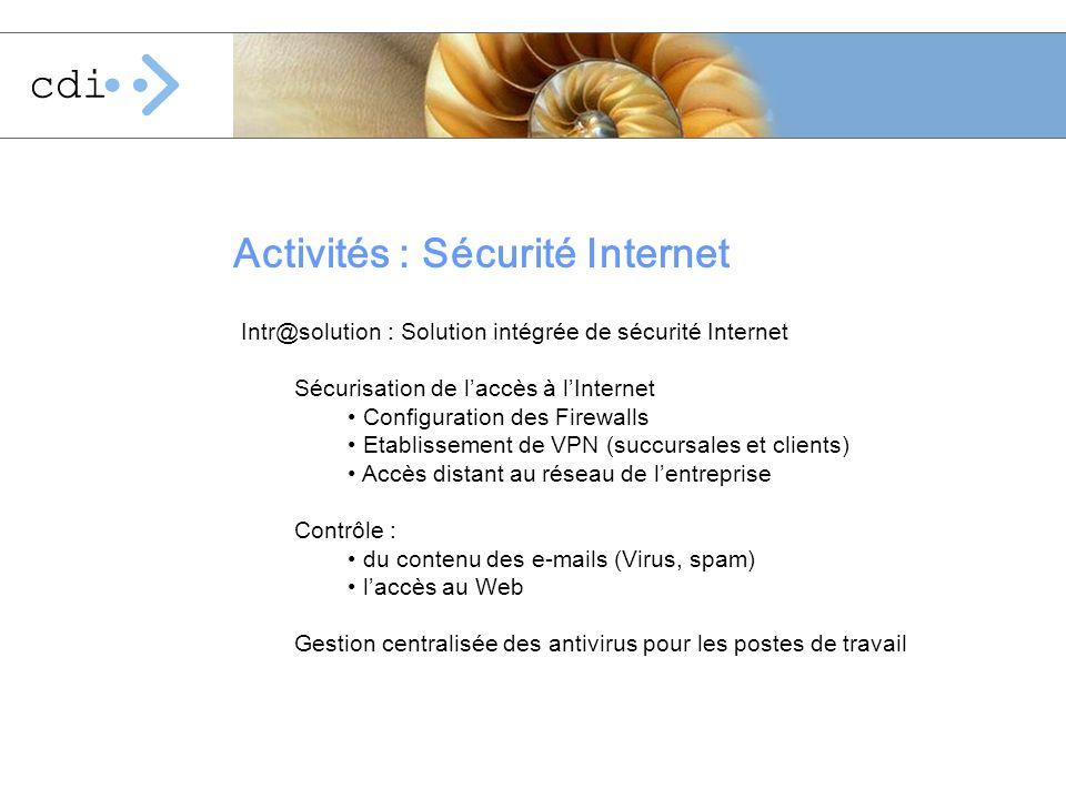Activités : Sécurité Internet Intr@solution : Solution intégrée de sécurité Internet Sécurisation de laccès à lInternet Configuration des Firewalls Et