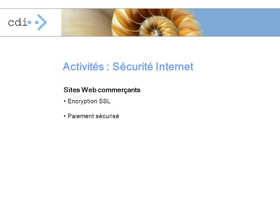 Activités : Sécurité Internet Encryption SSL Paiement sécurisé Sites Web commerçants