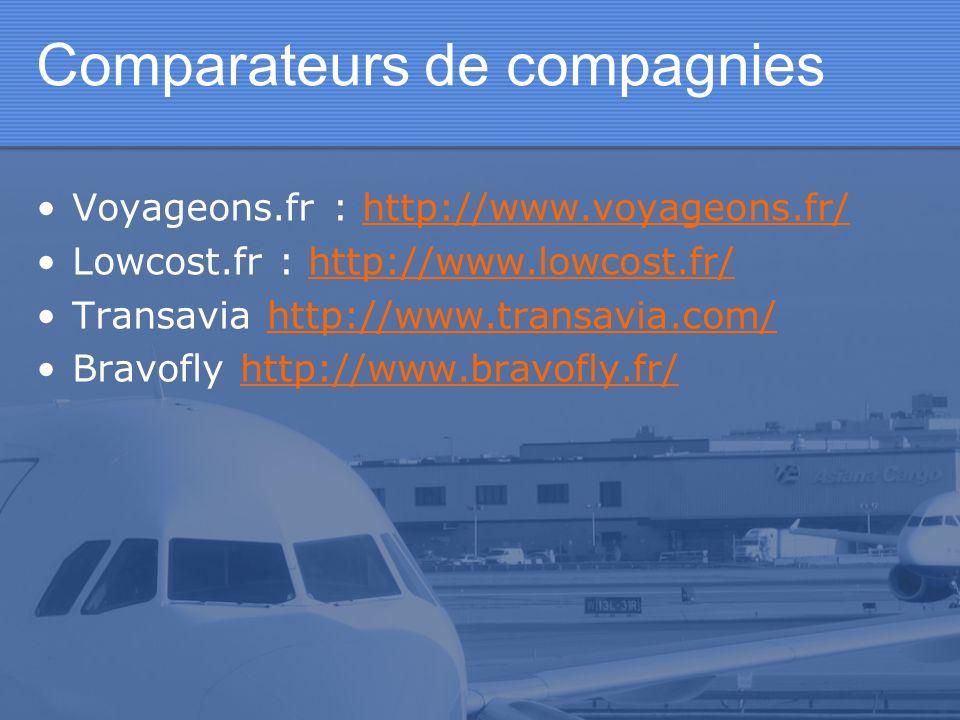 Comparateurs de compagnies Voyageons.fr : http://www.voyageons.fr/http://www.voyageons.fr/ Lowcost.fr : http://www.lowcost.fr/http://www.lowcost.fr/ T