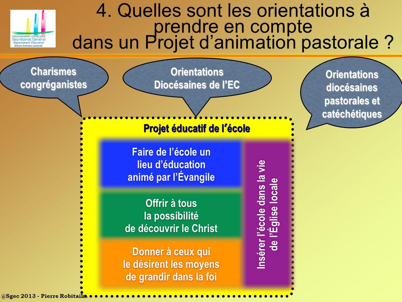 @Sgec 2013 - Pierre Robitaille Pr Projet éducatif de l école 4. Quelles sont les orientations à prendre en compte dans un Projet danimation pastorale