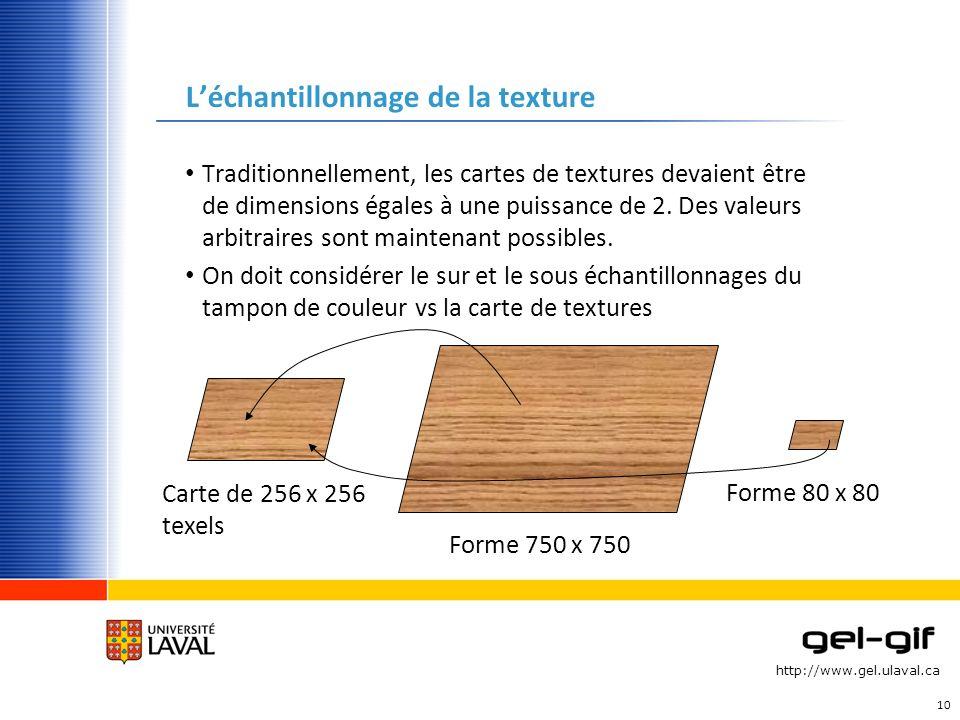 http://www.gel.ulaval.ca Léchantillonnage de la texture Traditionnellement, les cartes de textures devaient être de dimensions égales à une puissance