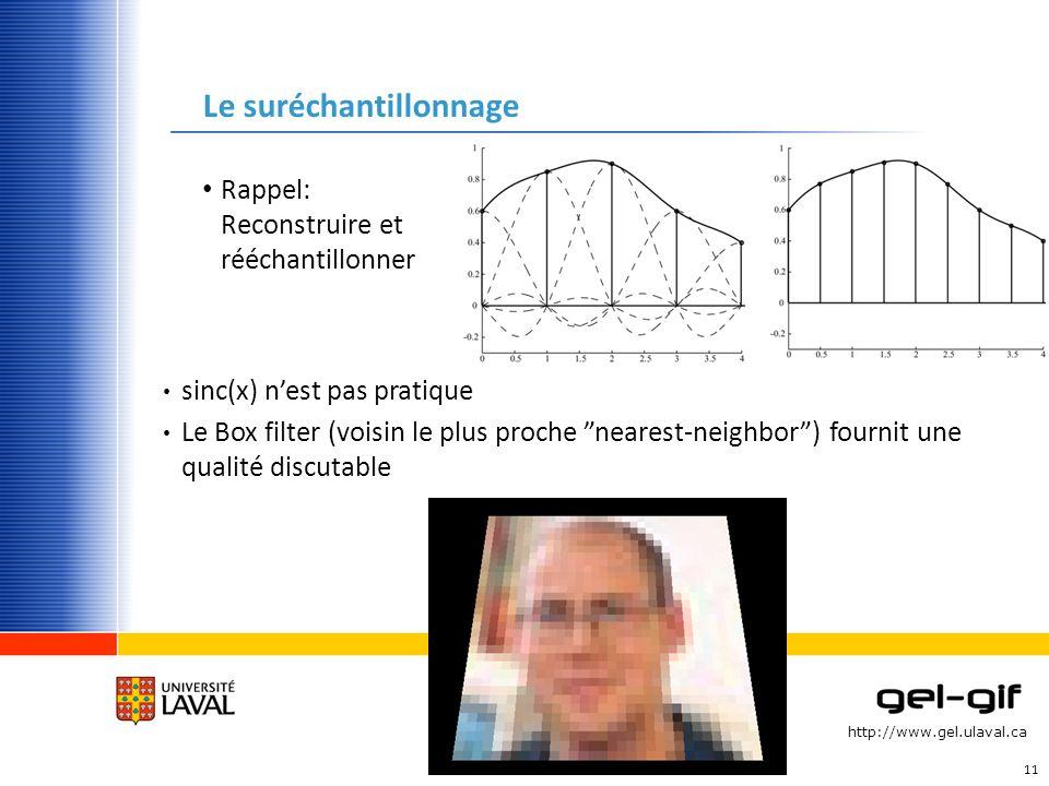 http://www.gel.ulaval.ca Le suréchantillonnage Rappel: Reconstruire et rééchantillonner 11 sinc(x) nest pas pratique Le Box filter (voisin le plus pro