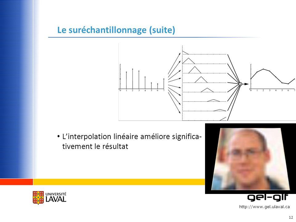 http://www.gel.ulaval.ca Le suréchantillonnage (suite) Linterpolation linéaire améliore significa- tivement le résultat 12