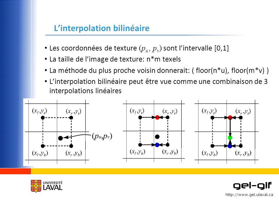 http://www.gel.ulaval.ca Linterpolation bilinéaire Les coordonnées de texture (p u, p v ) sont lintervalle [0,1] La taille de limage de texture: n*m t