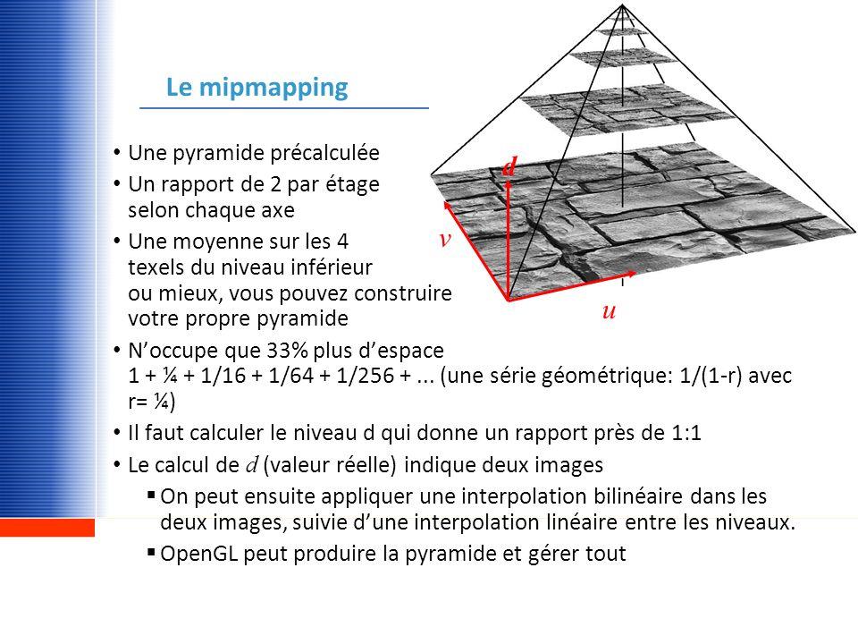 http://www.gel.ulaval.ca Le mipmapping u v d Une pyramide précalculée Un rapport de 2 par étage selon chaque axe Une moyenne sur les 4 texels du nivea