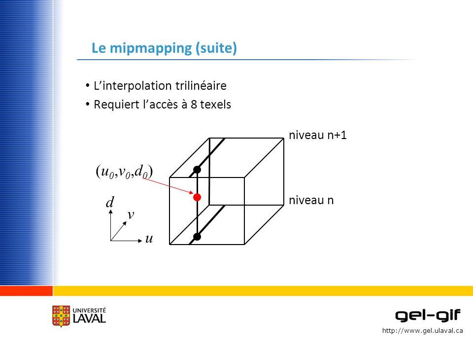 http://www.gel.ulaval.ca Le mipmapping (suite) Linterpolation trilinéaire Requiert laccès à 8 texels v u d niveau n+1 niveau n (u0,v0,d0)(u0,v0,d0)